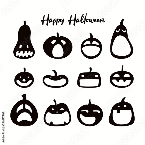 Set of different Halloween pumpkins, jack o lanterns. Isolated objects on white. Black silhouette. Hand drawn vector illustration. Flat style. Design element for banner, poster, flyer, invitation.