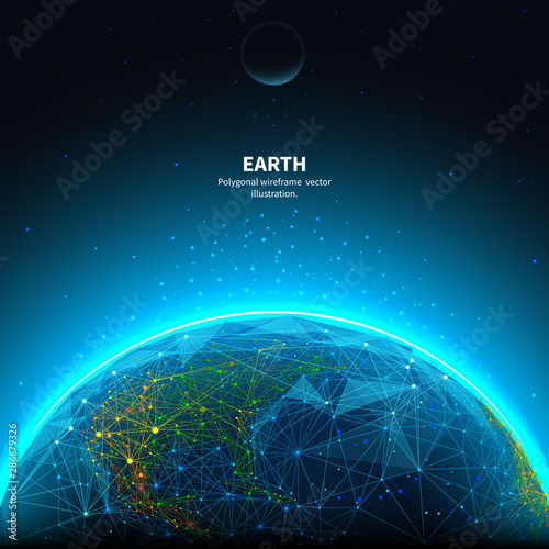 Obraz na plátně Earth low poly art illustration