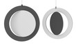 Blank Black And White Circle Round Banner Or Hanger. 3D rendering