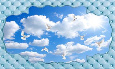 Fototapeta Optyczne powiększenie 3d sky and bird wallpaper background