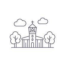 Church With Belfry, Vector Line Art