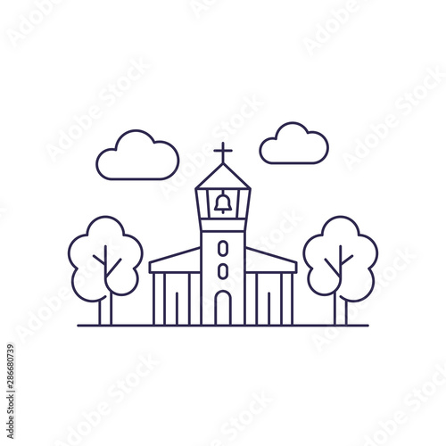 church with belfry, vector line art Fototapeta