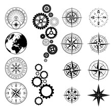 Set Of Different Black Design Symbols Silhouettes Isolated On White Background
