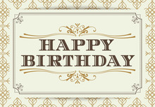Vintage Happy Birthday Typogra...