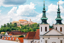 Spilberk Castle And Cityscape From Old Town Hall Tower In Brno, Czech Republic