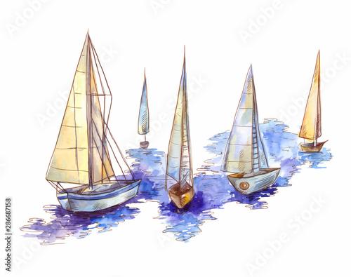 Vector watercolor sailboat regatta  isolated on white Wallpaper Mural