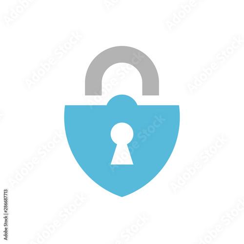 Cuadros en Lienzo  Blue padlock icon design, lock logo isolated on white background - Vector