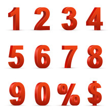 Red Numbers And Symbols 3D Illustrations Set