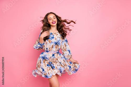 Fotografia Nice lady overjoyed by warm spring breeze close eyes wear cute dress isolated pi
