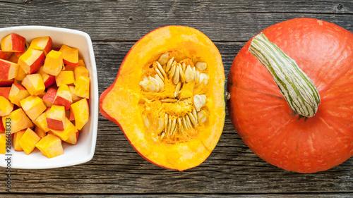 Fotografie, Obraz  Sliced hokkaido pumpkin