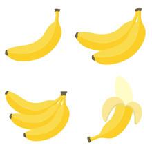 Banana In Flat Style. Banana Icon. Vector Illustration Isolated On White Background