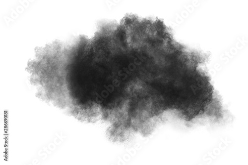 Stickers pour portes Fumee abstract powder splatted background. Black powder explosion on white background. Colored cloud. Colorful dust explode. Paint Holi.