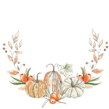 Watercolor Autumn Wreaths With Orange And Green Pumpkins, Leaves, Branches, Berries