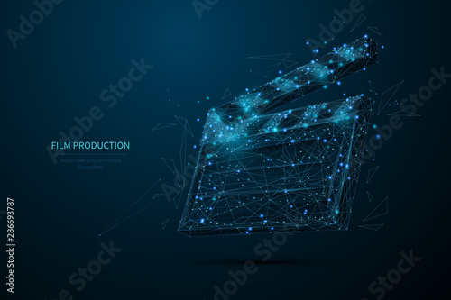 Film production low poly wireframe banner template Fototapeta