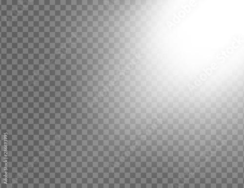 Fototapeta White glowing light explodes isolated on transparent background. Sun rays. Paradise glow. Realistic decoration effect. Vector illustration obraz na płótnie