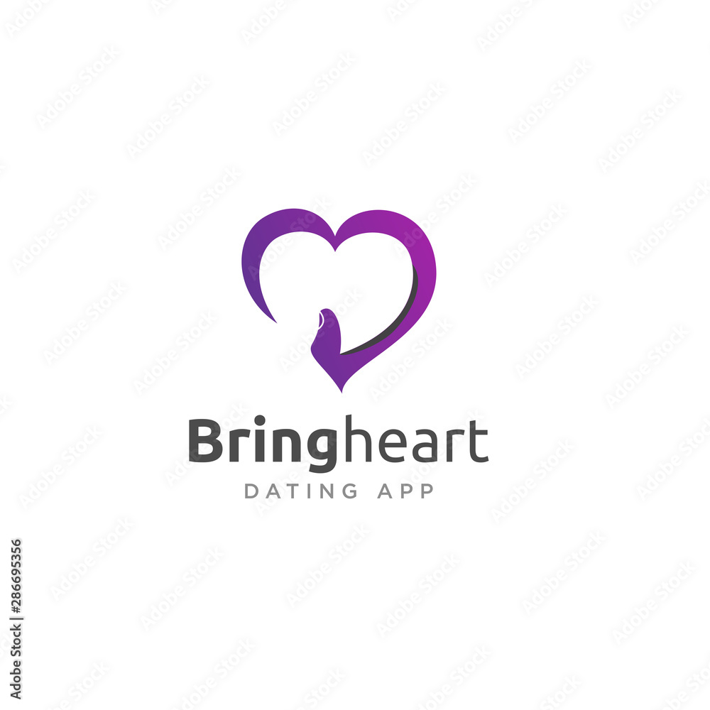 Fototapety, obrazy: Bring Heart Dating APP Logo