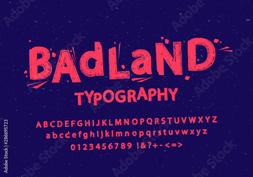 Obraz Vector illustration of stylized grunge and cracked font. Alphabet and numbers. - fototapety do salonu