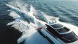 Aerial view of a luxury yacht navigating fast.