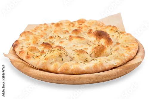 Fotobehang Brood crispy focaccia with rosemary isolated on white background.