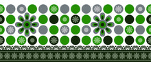 Seamless Green Textile Floral Border With Round Shapes