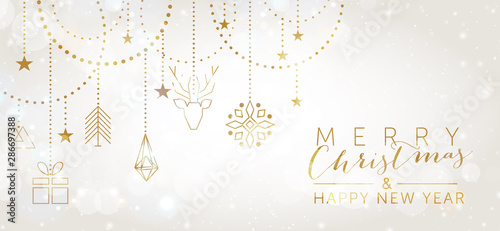 Photo Christmas and New Year background with geometric elements