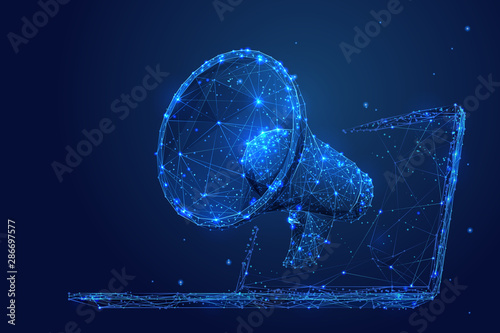 Obraz Digital marketing low poly wireframe illustration. Polygonal online notification, Internet targeted advertisement mesh art. 3D laptop and megaphone with connected dots. Promotional campaign - fototapety do salonu