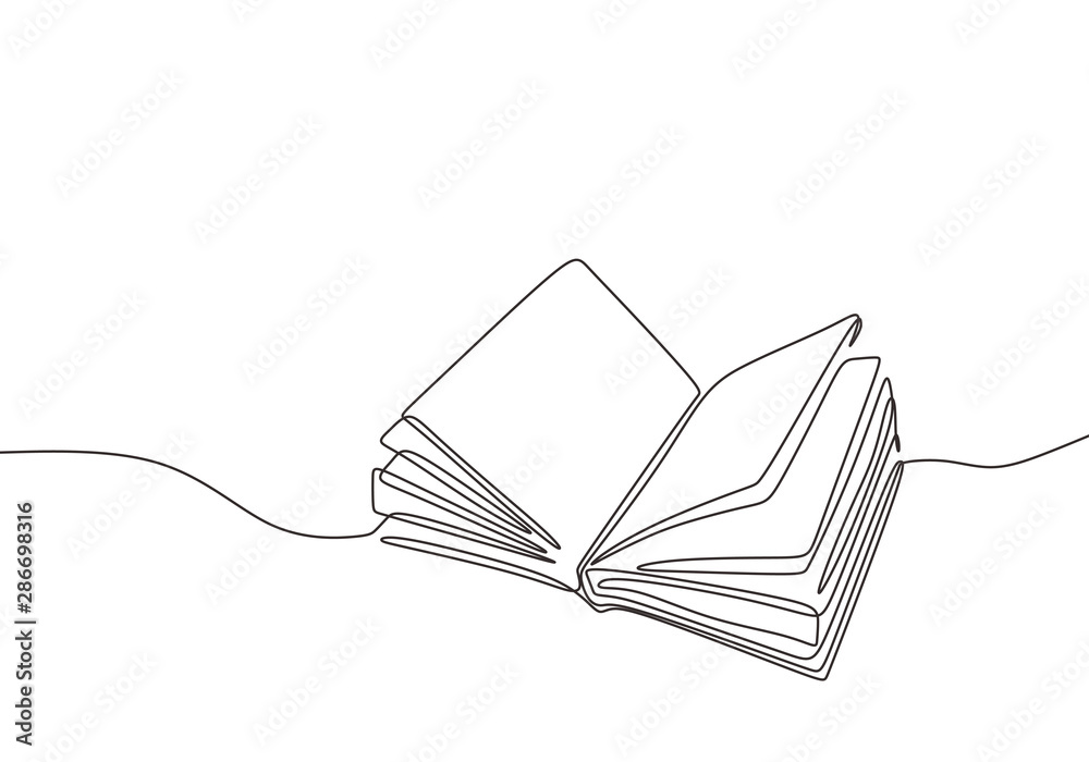 Fototapeta Continuous one line drawing open book with flying pages. Vector illustration education supplies back to school theme.