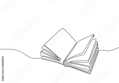 Fototapeta Continuous one line drawing open book with flying pages. Vector illustration education supplies back to school theme. obraz
