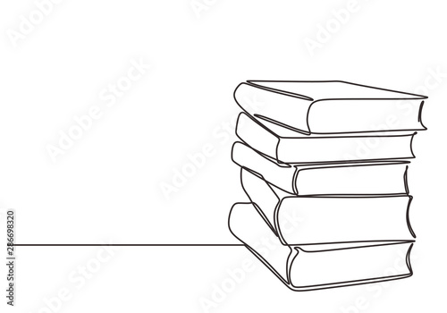 Fototapeta Stack of books on a white background. Continuous one line drawing education supplies vector illustration minimalism obraz