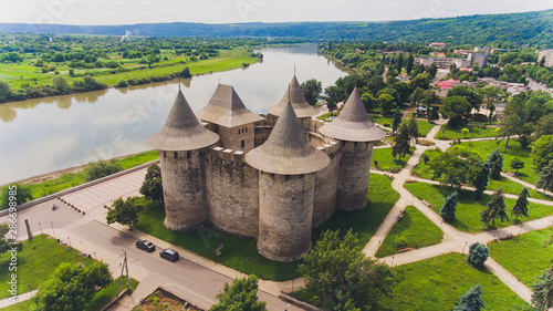 Foto auf Leinwand Lachs Aerial view of medieval fort in Soroca, Republic of Moldova.