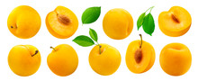 Yellow Plum With Leaves Isolat...