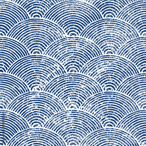 Printed kitchen splashbacks Pattern Wavy seamless pattern. Japanese print of seigaiha. Blue and white marine ornament for textiles. Vector illustration.