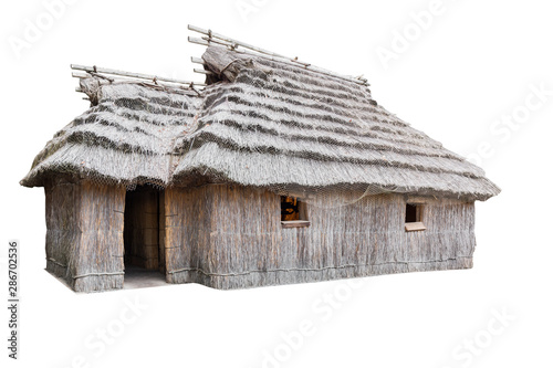 Ancient house isolated on white background. Wallpaper Mural