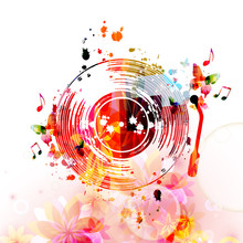 Music Background With Colorful Vinyl Record Disc And Music Notes Vector Illustration Design. Artistic Music Festival Poster, Events, Party Flyer, Music Notes Signs And Symbols