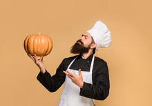 Chef Man In White Apron Presenting Pumpkin For Culinary. Bearded Cook In Chef Uniform With Pumpkin. Autumn Food Concept. Healthy Organic Harvest Vegetables. Thanksgiving Seasonal Cooking Ingredients.