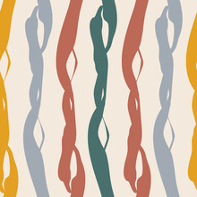 Painterly Weave Effect Vertical Stripes In Warm Tones Of Teal, Red Purple And Orange. Seamless Vector Pattern On Light Background With Homespun Feel. Great For Wellbeing, Packaging, Graphic Design