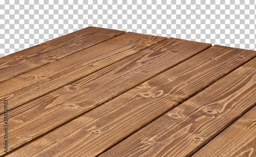 Fotografie, Obraz  Perspective view of wood or wooden table corner on transparent background includ