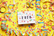 canvas print picture - 2020 new year celebration flat lay concept with confetti and streamers