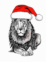 Graphical  Lion In Santa Claus...