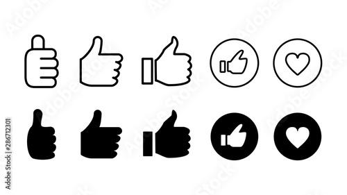 Photo いいねボタン共感アイコンイラストセット白黒