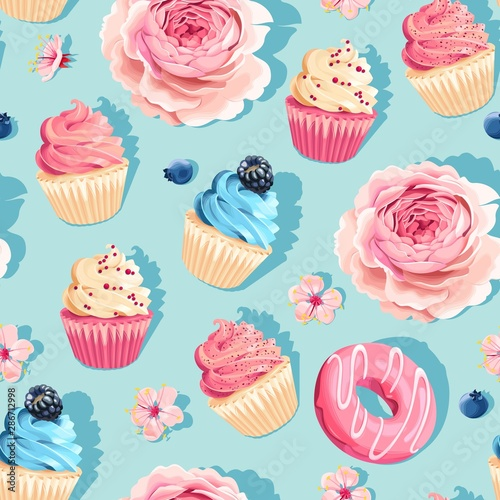 Seamless pastel vector high detail cupcake pattern Wallpaper Mural