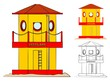 Modern Traditional Life guard tower colored