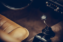 Gear Shifter Of A Vintage Car