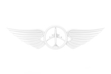 White Pilot Wing Emblem, Badge Or Logo Symbol In Clay Style. 3d Rendering