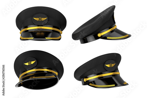 Civil Aviation and Air Transport Airline Pilots Hat or Cap with Gold Aviation Insignia Fototapete