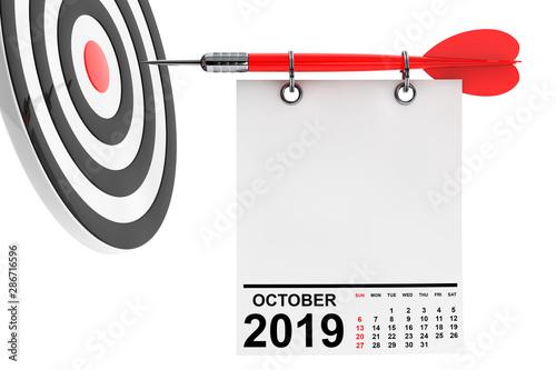 Fotomural Calendar October 2019 with Target. 3d Rendering