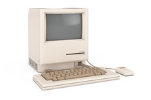 Retro Personal Computer. The System Unit, Monitor, Keyboard And Mouse. 3d Rendering