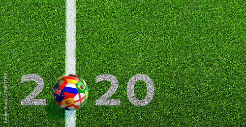 Soccer ball with flag with line on soccer field and 2020 numbers Wallpaper Mural