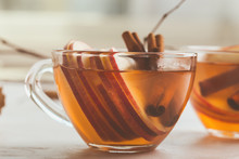 Autumn Hot Spicy Tea Glasses With Cinnamon Sticks