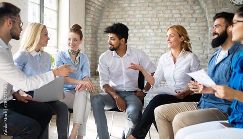 Fotografía Startup business team on meeting in modern bright office interior brainstorming,